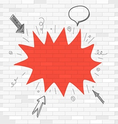 White brick wall and red blot label Template for a vector image