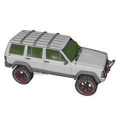 White jeep cherokee on white background vector