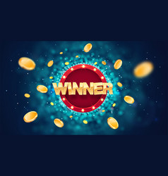 Winner gold text on retro red board banner vector
