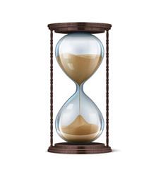 Wooden hourglass realistic sand clock 3d vector