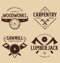 Woodwork badges set carpentry woodworkers vector