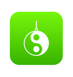 yin yang symbol icon digital green vector image