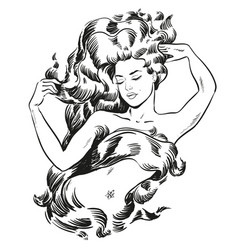 Young becautiful woman with long hair line art vector