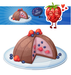 zucotto dessert with berries icon cartoon vector image