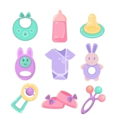 Baby accessories set Cute design pastel colors vector image