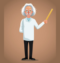 character scientist physical holding ruler vector image