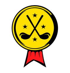 golf golden award with clubs icon icon cartoon vector image vector image