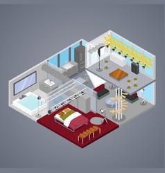 modern duplex apartment interior isometric vector image vector image