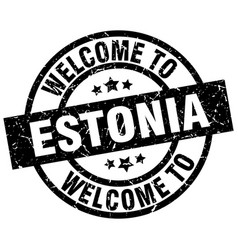 welcome to estonia black stamp vector image vector image