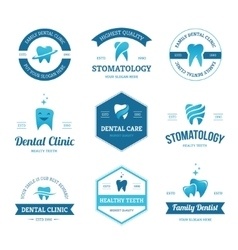 Blue dental labels vector image