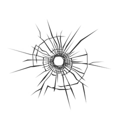 Bullet Hole in Glass White Background vector image