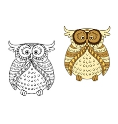 Cartoon yellow owl with brown striped wings vector image