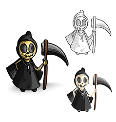 Halloween monsters isolated spooky reapers set vector