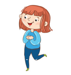 happy young girl cartoon character vector image vector image