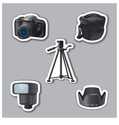 photography equipment stickers vector image vector image