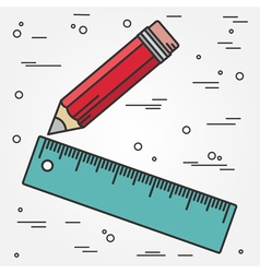 Ruler and pencil thin line design Ruler and pencil vector image vector image