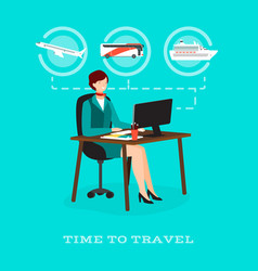 time to travel concept flat vector image vector image