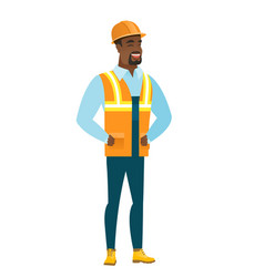 young african-american builder laughing vector image vector image