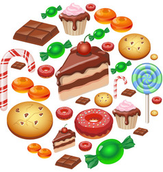 Assorted sweets colorful background with chocolate vector image