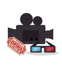 cinema entertainment elements icons vector image
