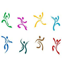 Dancing and jumping peoples vector image