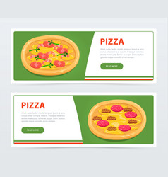 pizza banner template with different ingredients vector image vector image