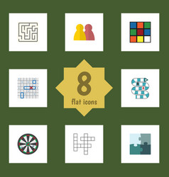 flat icon play set of arrow cube multiplayer and vector image vector image