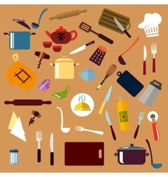 Kitchen utensil and cookware flat icons vector image