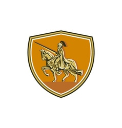 Knight Riding Steed Lance Shield Retro vector image