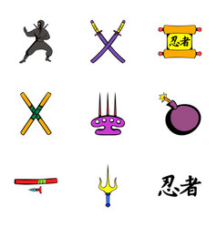 ninja icons set cartoon style vector image vector image