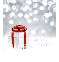 Silver christmas background with gift vector image vector image