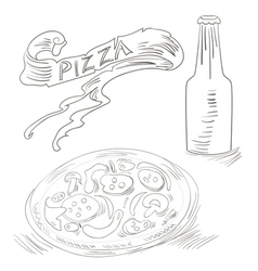 sketch with pizza and bottle of soda vector image vector image