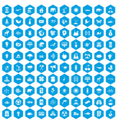 100 eco care icons set blue vector