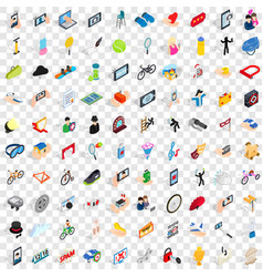 100 hand icons set isometric 3d style vector image