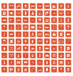 100 home icons set grunge orange vector