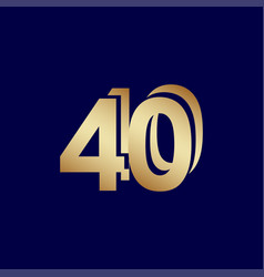 40 years anniversary celebration blue gold vector