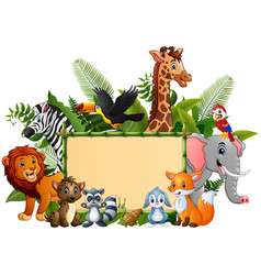 animals forest cartoon with blank sign bamboo vector image