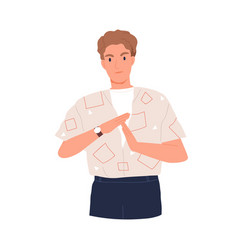 Annoyed man showing pause sign or break time vector