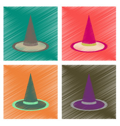 Assembly flat shading style icons halloween witch vector