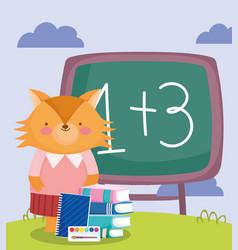 back to school fox chalkboard books notepad vector image