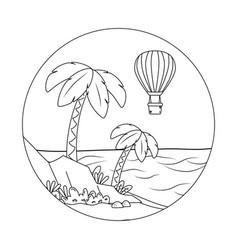 Beach cartoon round label in black and white vector