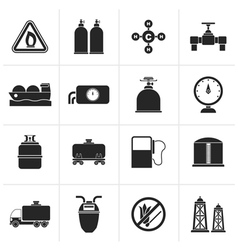 Black natural gas objects and icons vector