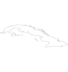 Black White Cuba Outline Map vector image