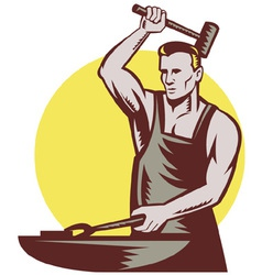 blacksmith with hammer vector image