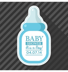 Blue Baby Bottle Card vector image