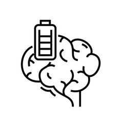 brain battery line icon concept sign outline vector image