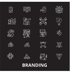 branding editable line icons set on black vector image
