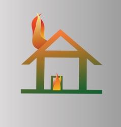 Burning house symbol vector image