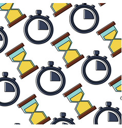 business time stopwatch hourglass sand seamless vector image