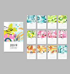 Calendar 2019 seasons collage abstract painting vector